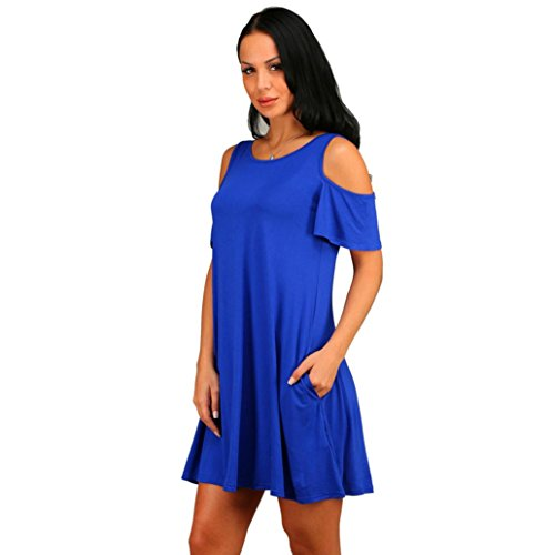 Blusa Ocasional Lenfesh Cuello Sin S Mangas Casual Chaleco de de Dobladillo Mujer Elegante Verano Azul Camisa Redondo Vestido 0rqRRx5nX