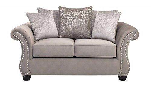 Contemporary Microfiber Loveseat - Roundhill Furniture LHU7502 Larvik Contemporary Microfiber Loveseat with Nailhead Trim