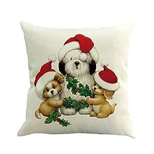 Christmas Pillow Case,Beautyvan Christmas Linen Square Throw Flax Pillow Case Decorative Cushion Pillow Cover (5~E)