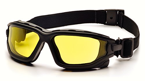 Pyramex I-Force Sporty Dual Pane Anti-Fog Goggle, Black Frame/Amber Anti-Fog Lens