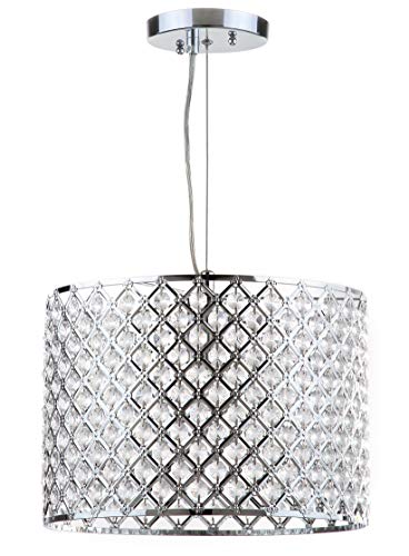 Safavieh Lighting Collection Silva Beaded Diamond Pendant 12-inch Chrome