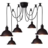 DIDIDD American retro industry creative 6 - head day women scattered flowers can be free to adjust the installation of iron chandelier bar living room restaurant chandelier