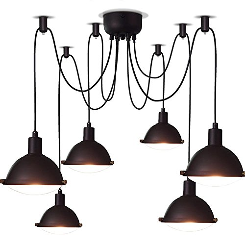 DIDIDD American retro industry creative 6 - head day women scattered flowers can be free to adjust the installation of iron chandelier bar living room restaurant chandelier by DIDIDD