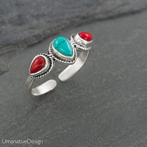 Boho Sterling Silver Ring With Turquoise and Red Coral Stones, Open and Adjustable Tribal Oval Stone Ring, Hippie Ethnic Handmade Natural Stone Ring, Unisex Indian Jewelry For men and - Handcrafted Ring Turquoise