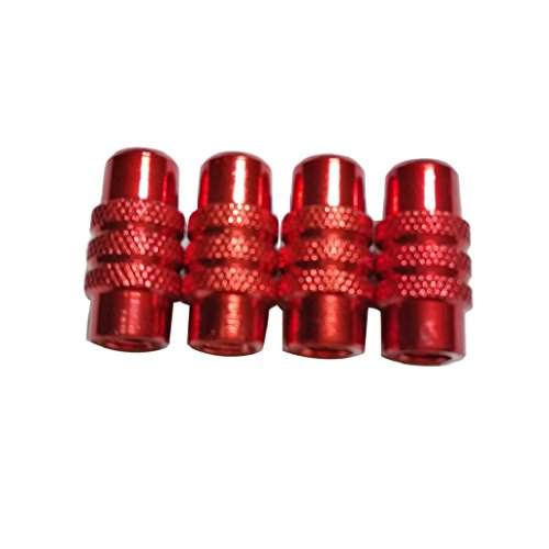 AMA(TM) 4PCS Bicycle Wheel Tyre Presta Valve Cap Anodized Dust Cover (Red) (Best Winter Bicycle Tyres)