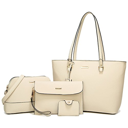 44faaa2e26b8 ELIMPAUL Women Fashion Handbags Tote Bag Shoulder Bag Top Handle Satchel  Purse Set 4pcs by ELIMPAUL