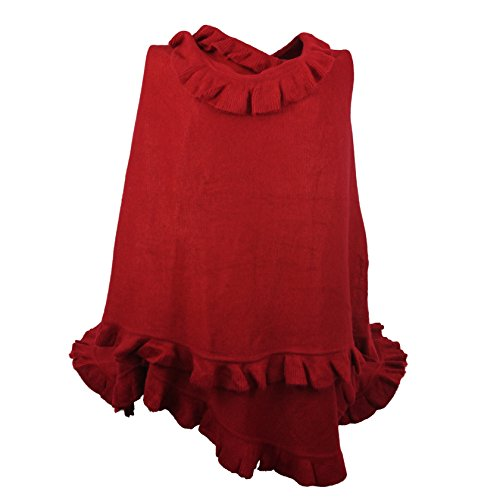 Luxury Women Ruffle Edge Poncho Knitted Shawl Premium Lady Soft Knit Cape Jacket Fashion Scarf Stretchy Wrap Over Solid Color Girl Large Shawl Elegant Cloak Warmer - Crimson