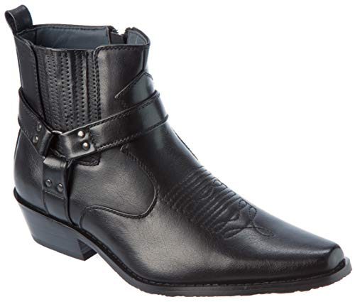 western01 Mens Wester Style Cow-Boy Boots PU-Leather Black Dress-Shoes Size 9