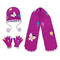 Kidorable Purple Butterfly Soft Hat/Scarf/Glove Set for Girls w/Flowers and Butterflies