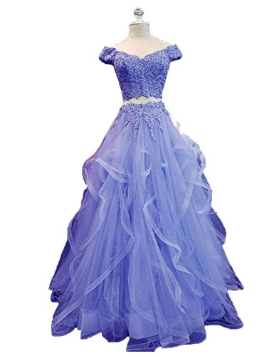 Prom In Pizzo Cap Veste 2 Dress Maniche Promenade 2018 Piece Ccbubble Lavanda La vA8Zq
