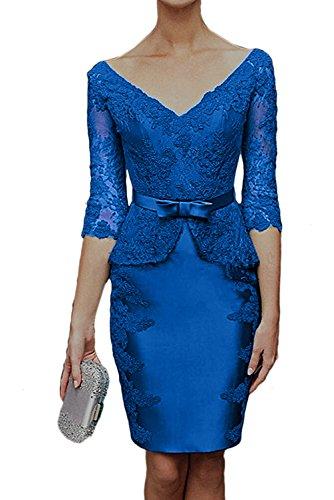 Ivydressing Damen Hochwertig V-Ausschnitt Spitzenkleider Abendkleid Mit Aermeln Brautmutterkleider Blau 94hIUGC3qr