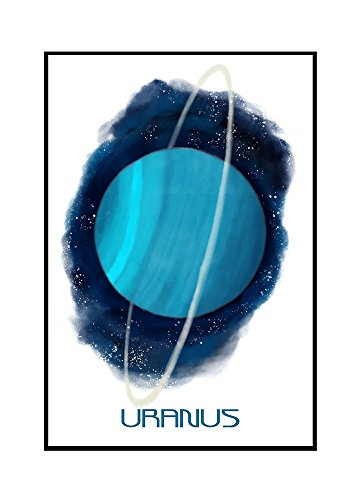 Uranus - Watercolor (16x24 Framed Gallery Wrapped Stretched Canvas) by Lantern Press