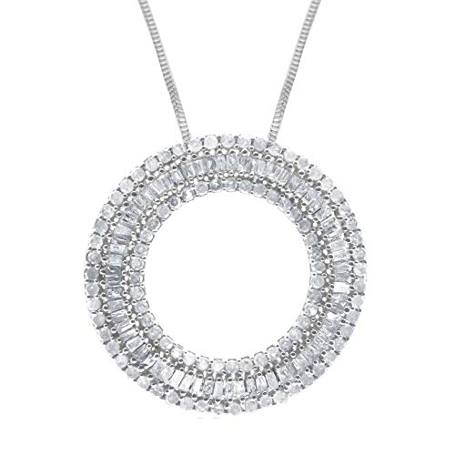 Ornaatis 1.09CT White Round & Baguette Diamond 925 Silver Circle Slider Pendant Necklace ()