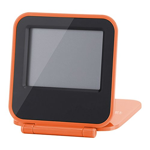 Date Pocket Timepiece - ABS Digital Light Clock, Small Alarm Clock Snooze on Desk & Table Display Time/Date/Week/Temperature for Office/Home/Travel(Orange)