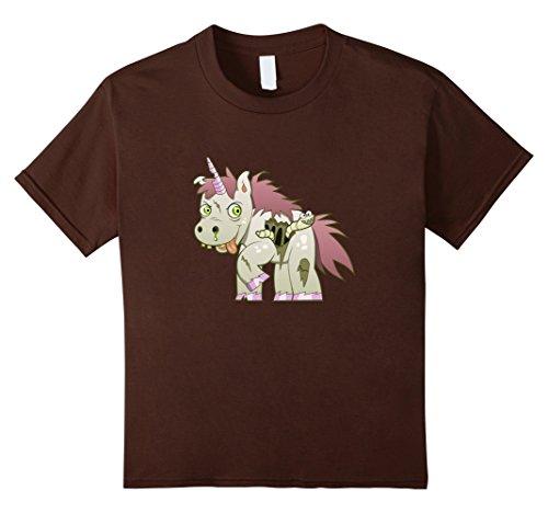 [Kids Cute Unicorn Zombie Halloween costume Party funny T-shirt 10 Brown] (Cute Zombie Halloween Costumes)