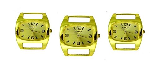 PlanetZia 3pcs Rounded Rectangle Ribbon Watch Faces for Interchangeable Beaded Bands TVT-1180SML (Gold)