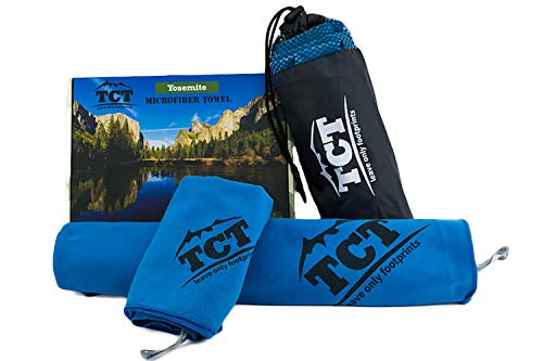 (The Camping Trail Camping Hiking and Backpacking Towel Set Quick Drying Portable Great for Any Outdoor use its Super Absorbent Anti Bacterial and Lightweight Comes with a Stuff Sack and Hand Towel)