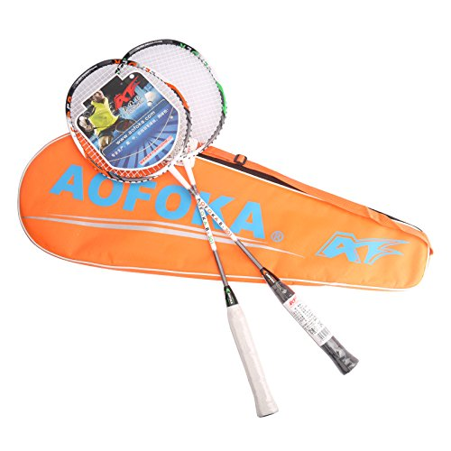 L.E.D STEP 2 Player Badminton Racquets Set Racket Combo Set Double 1 Carrying Bag Included (01)