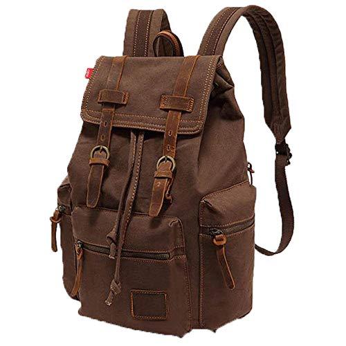 (ZJPP Men Vintage Canvas Backpack,Leather Laptop School Military Lightweight Backpack Travel bagpacks Business Backpacks)