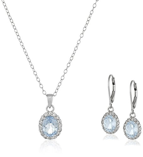 Sterling Silver Blue and White Topaz Pendant and Earrings Set - coolthings.us
