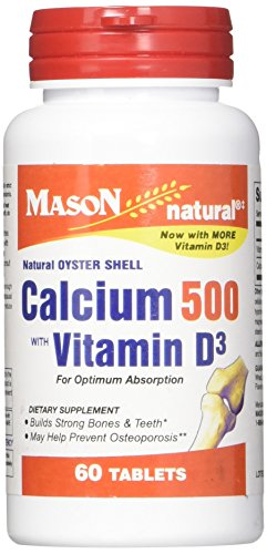 Mason Vitamins Calcium 500 with Vitamin D3 Tablets, 60 Count