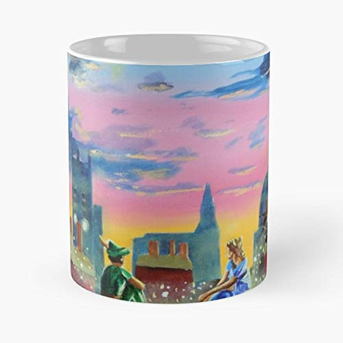 Peter Pan Wendy Rooftops Stars - Coffee Mugs Unique Ceramic Novelty Cup For Holiday Days 11 Oz.