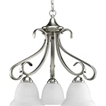Progress Lighting P4405-09 3-Light Chandelier with Etched White Bell-Shaped Glass Bowls and Squared Scrolls and Arms, Brushed Nickel