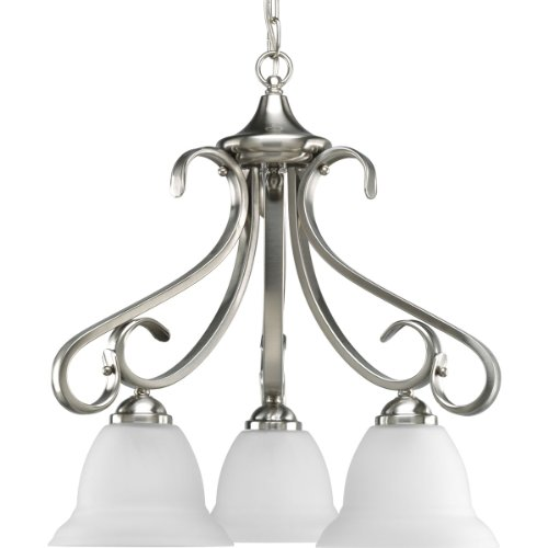 (Progress Lighting P4405-09 3-Light Chandelier with Etched White Bell-Shaped Glass Bowls and Squared Scrolls and Arms, Brushed Nickel)