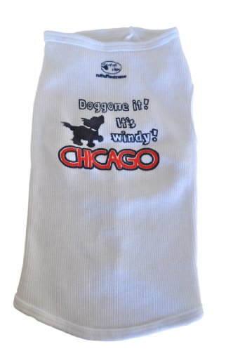 Ruff Ruff and Meow Dog Tank Top, Doggone it! Its Windy! Chicago, White, Medium