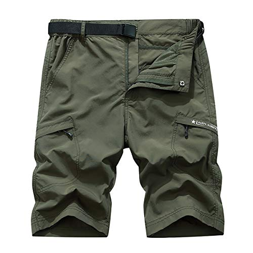 (TILPAWOGGA Outdoor Lightweight Hiking Shorts Quick Dry Shorts Sports Casual Shorts Army Green)