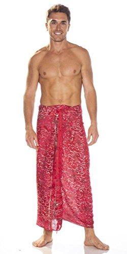 - 1 World Sarongs Mens Abstract Scrolls Sarong in Red