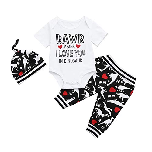 by Boys Fashion Dinosaur Letter Romper+ Pants Hat Playwear Outfits Clothing Set 0-18Months (Black, 12-18 Months) (Girls Spreaders)