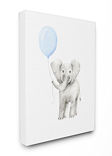 Stupell Industries Baby Elephant with Blue Balloon Watercolor Stretched Canvas Wall Art, 16 x 1.5 x 20, Proudly Made in USA ()