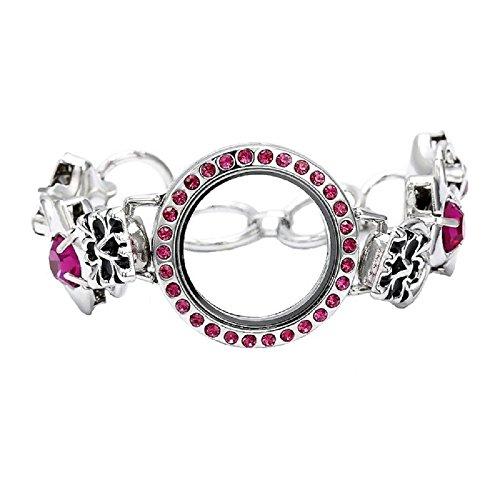 Pink Crystal Floating Charm Toggle Clasp Bracelet Charm Locket Toggle Bracelet
