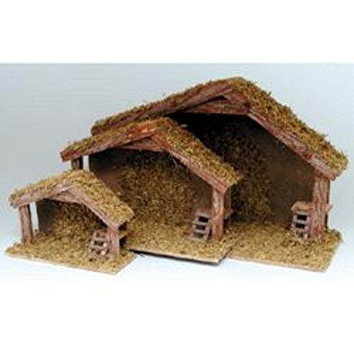 3-Piece Small, Medium, Large Wooden Stable Set for Christmas Nativity Displays (Stable Nativity Small)