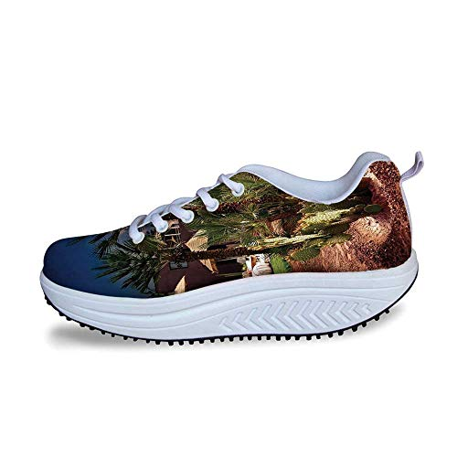 YOLIYANA Desert Cool Shake Shoes,Majestic Sky View Palm Trees and Cactus in Oasis Morocco Tropic Nature for Women,US Size7 (Bowling Palm Desert)