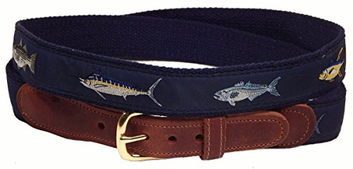 Four Fish Striped Bass, Bluefish, Marlin, Yellow-Fin Tuna Men's Belt, Navy ()