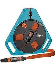 GARDENA Classic Roll-fix Platte Slang 15 met cassette: Ruimtebesparende slangcassette met waterslang (Ø 12 mm in cassette), veiligheidsautomaat, incl. sproeier, met aansluitapparaten (756-20)