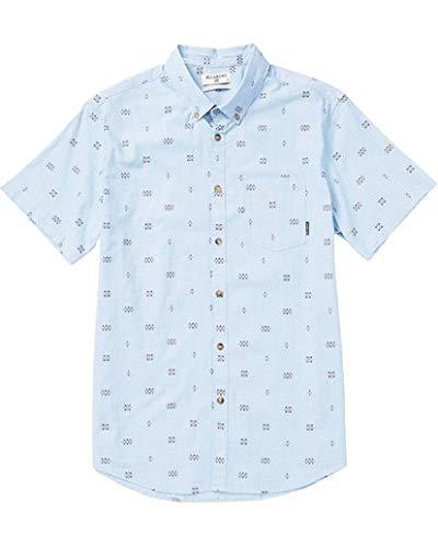 Billabong Men's Printed Woven Short Sleeve Shirts, Light Blue, M