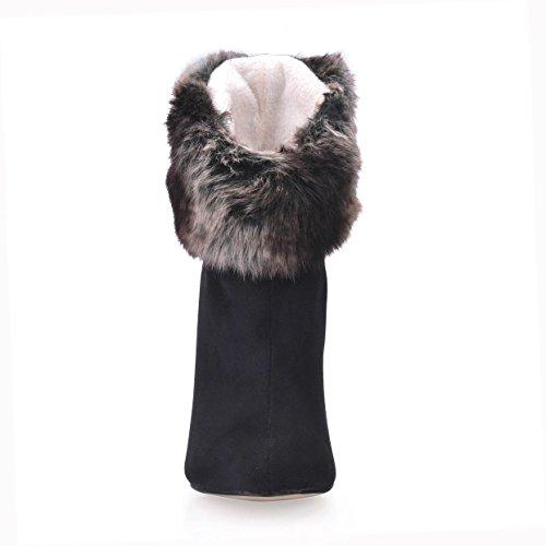 Punta sintetica donna da gomma Suola 4U® Tacchi Pelliccia alti nere Scarpe Elastic punta Stiletto Velvet Zippe Best Autunno di Inverno 12CM Stivali a TqAgSO