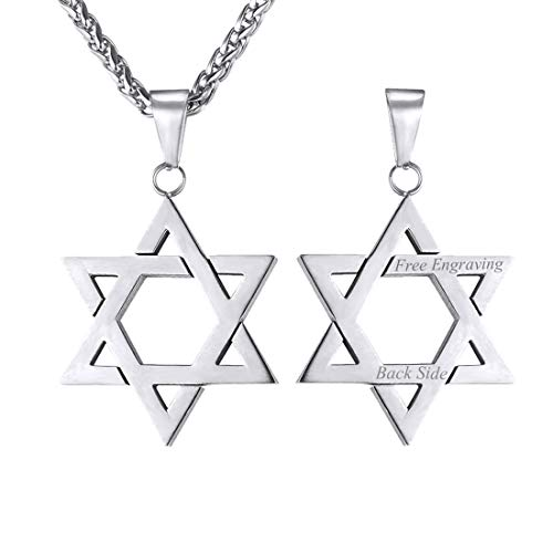 U7 Men Women Stainless Steel Star of David Pendant Necklace 22 Inch, with Custom Engrave Service