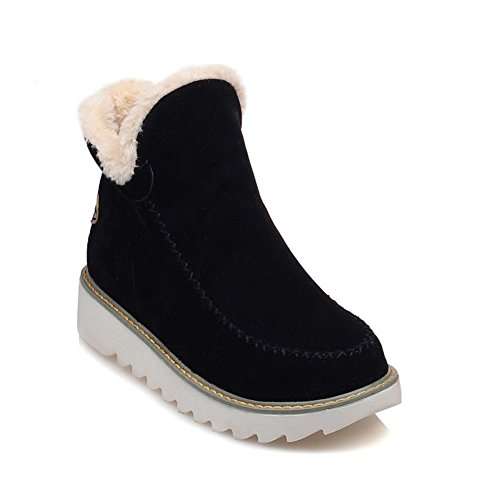 Lucksender Womens Fashion Round Toe Low Heel Simple Style Casual Snow Boots Black njMYj4A