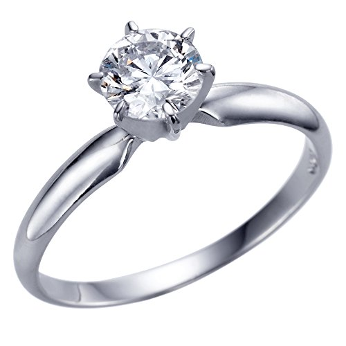 Christmas Gift Sale Real 0.41 CT J SI1 GIA Single Solitaire Diamond Engagement Ring Round Cut with 14K White Gold Any Size 10247375 from Rothem Collection