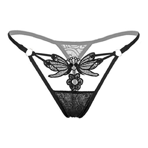 ShenPr Women's Sexy Lace Floral Butterfly Hollow Out Panties Briefs Thongs Bikini Knickers Underwear Lingeria (Black)