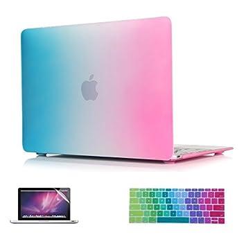 i-Buy Mate Caso de Shell duro + cubierta del teclado + Protector de pantalla para Apple Macbook 12 pulgadas con Retina Display(Modelo A1534)- Arco iris: ...