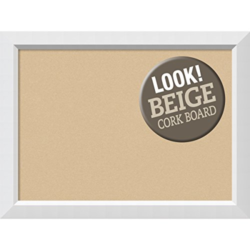 Amanti Art Framed Beige Cork Board Blanco White: Outer Size, Large-32 x 24'' by Amanti Art