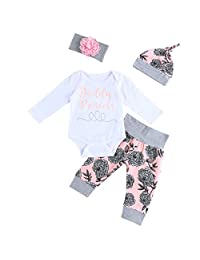 MIOIM Newborn Baby Girls 4 pcs Outfits Floral Letter Rompers Leggings Hat Headband