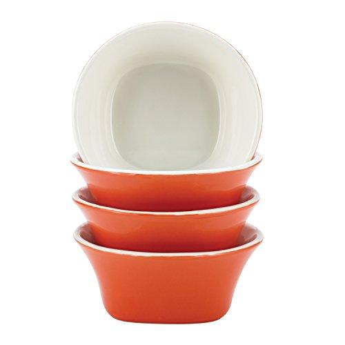 Rachael Ray 58775 Dinnerware Round & Square Fruit Bowl Set, 10-Ounce, Orange