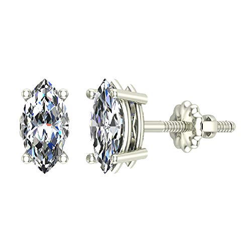 (1.00 ct tw G SI Diamond Stud Earrings Marquise Cut Earth-mined 14K White Gold Screw Back)