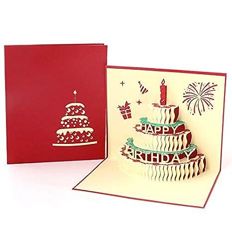 Paper Spiritz Carte De Vœux Pop Up Pour Anniversaire Gâteau De Bougie Rouge Pop Up Card Pour Femme Anniversaire De Fête De La Fête Des Mèrescoupe